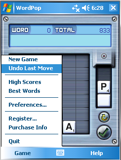 WordPop with Undo