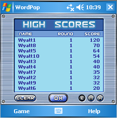 Word Pop High Scores Square 2